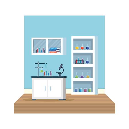 Labor Büro Arbeitsplatz Szene Vektor Illustration Design Vektorgrafik