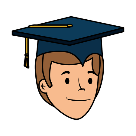young student graduated head character vector illustration design Banco de Imagens - 121096364