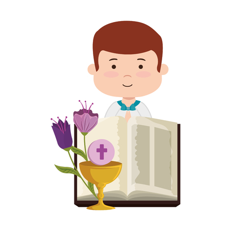 little boy with bibble and flowers first communion character vector illustration design