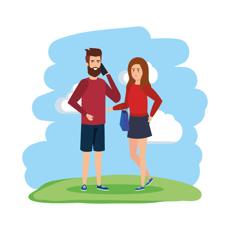 young couple with smartphone avatars characters vector illustration design Ilustração