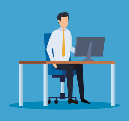 elegant businessman executive in the office with computer vector illustration