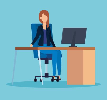 elegant businesswoman executive in the office with computer vector illustration Illusztráció