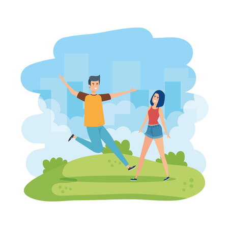 young couple celebrating in the park vector illustration design