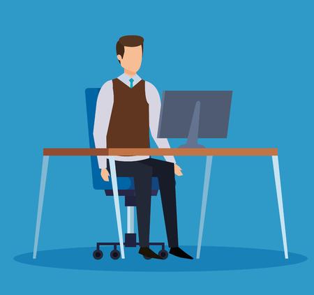 elegant businessman professional with computer in the desk vector illustration