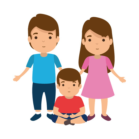 parents couple with son characters vector illustration design