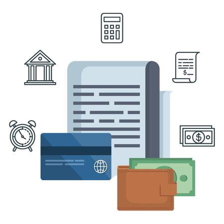 tax document with financial icons vector illustration design Foto de archivo - 121096473
