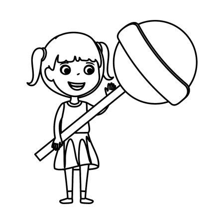 little girl with sweet lollipop candy vector illustration design Standard-Bild - 123300354