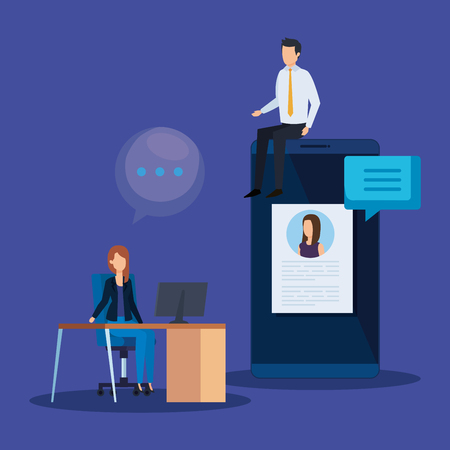 businesspeople with smartphone curriculum vitae and computer vector illustration