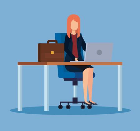 professional businesswoman with laptop in the desk office vector illustration Illusztráció