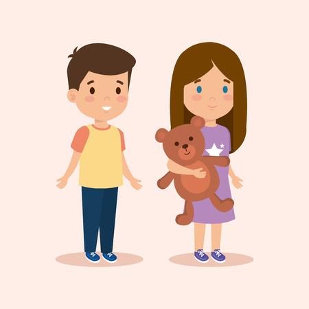 lindo niño y niña con peluche y peinado ilustración vectorial Ilustración de vector