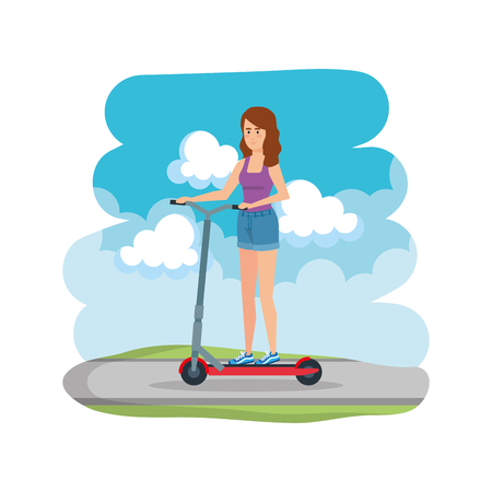 young woman in folding scooter on road vector illustration design