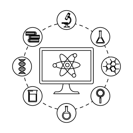 desktop computer with telemedicine icons vector illustration design Illustration