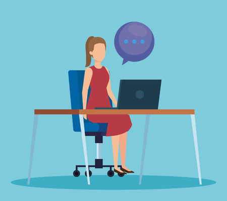 professional businesswoman with computer and chat bubble vector illustration