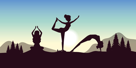 women practice yoga with pines trees and mountains vector illustration Ilustração