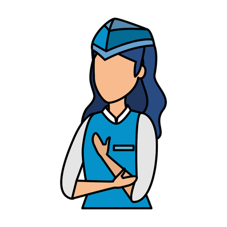 female flight attendant avatar character vector illustration design Stock Illustratie