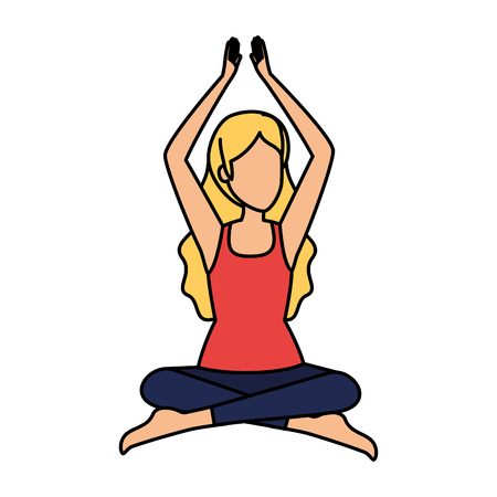 woman practicing lotus yoga position vector illustration design Vector Illustration