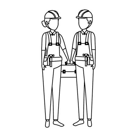 couple builders workers with helmets vector illustration design Illusztráció