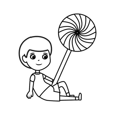 little boy with sweet lollipop candy vector illustration design