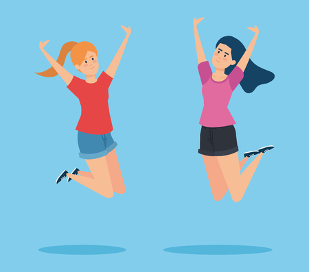 happy girls jumping with blouse and shorts vector illustration Ilustração