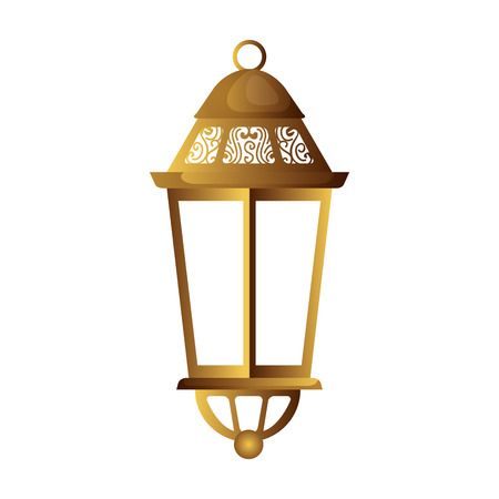 ramadam karem golden lamp hanging vector illustration design Ilustración de vector