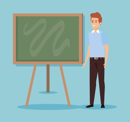 man teacher with blackboard to celebration event vector illustration