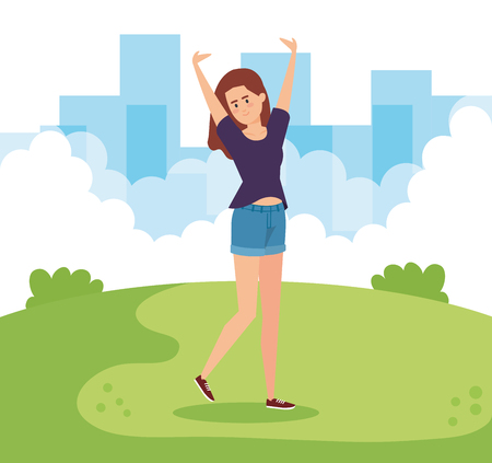 happy woman with hands up in the park vector illustration