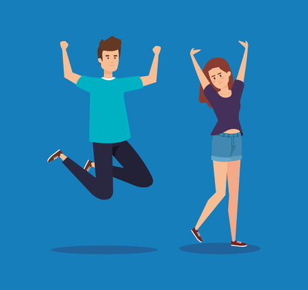happy boy and girl jumping with casual clothes vector illustration Vettoriali