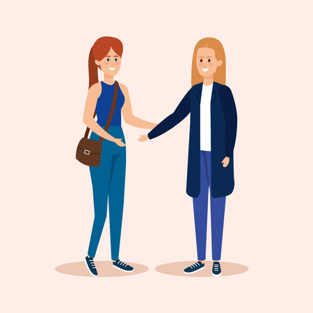 girls friends with hairstyle and casual clothes vector illustration
