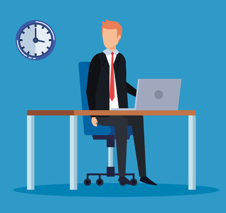 professional businessman with laptop in the desk office vector illustration