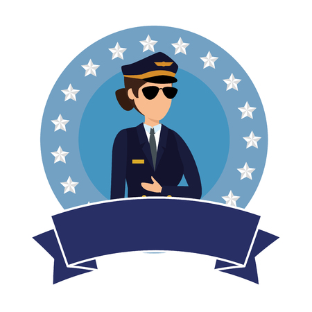female aviation pilot avatar character vector illustration design Archivio Fotografico - 123304694