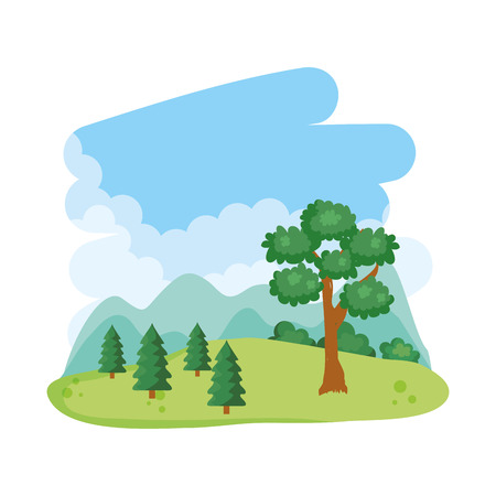 tree landscape nature vector, vector illustration