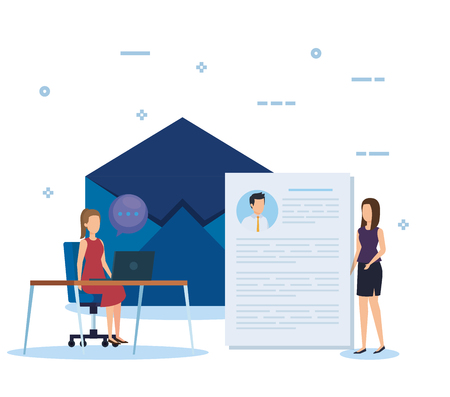 businesswomen with curriculum vitae and chat bubble vector illustration Ilustrace