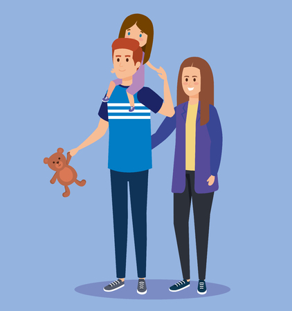happy woman and man carrying his daughter and teddy vector illustration Ilustração