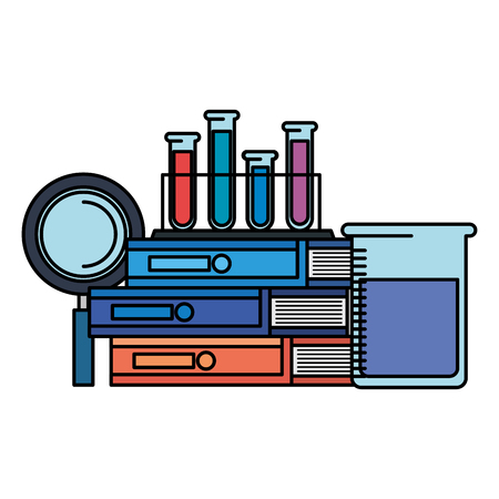 tubes test in holder with books and magnifying glass vector illustration design