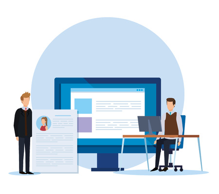 businessmen office with computer and curriculum vitae vector illustration