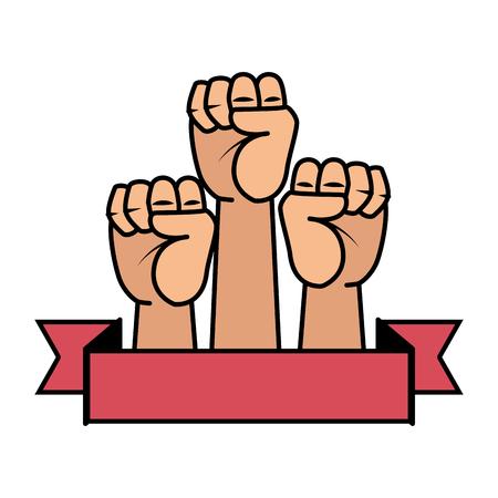 mains en l'air, icônes, poings, vecteur, illustration, conception Vecteurs