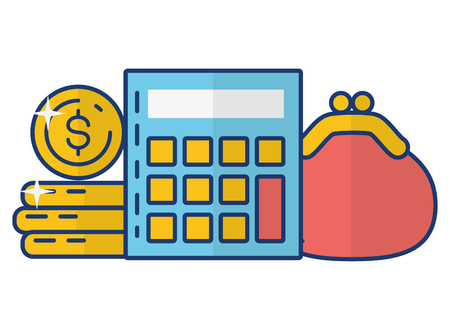 calculator money purse online payment vector illustration Stok Fotoğraf - 123304802