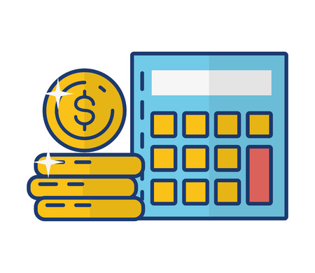 calculator coins stack online payment vector illustration Illustration