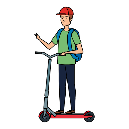young man in folding scooter vector illustration design Imagens - 123304819