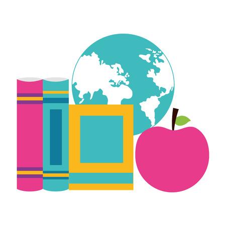 school books map apple supplies vector illustration design