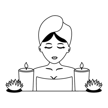 woman with towel candles and flowers spa vector illustration Çizim
