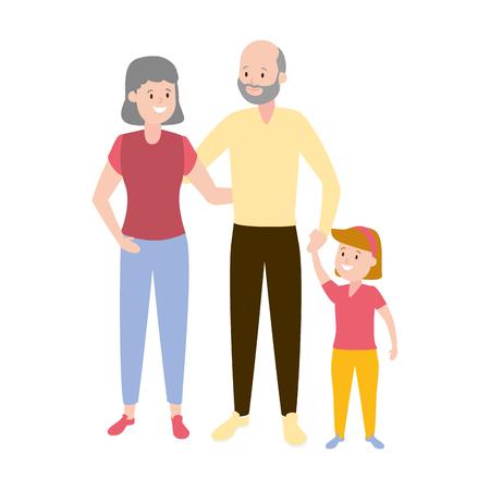 grandparents and granddaughter family vector illustration design