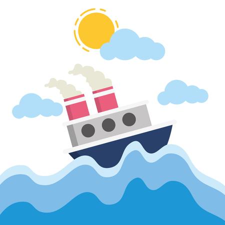 boat sea transport cartoon vector illustration design Illustration