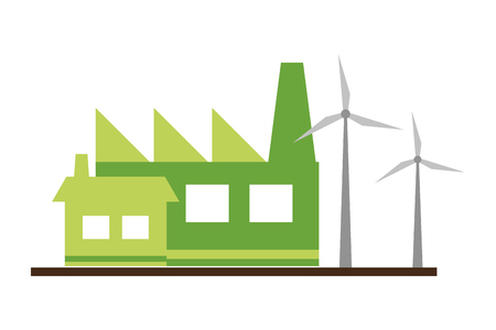 factory building house wind turbines ecology vector illustration Ilustracja