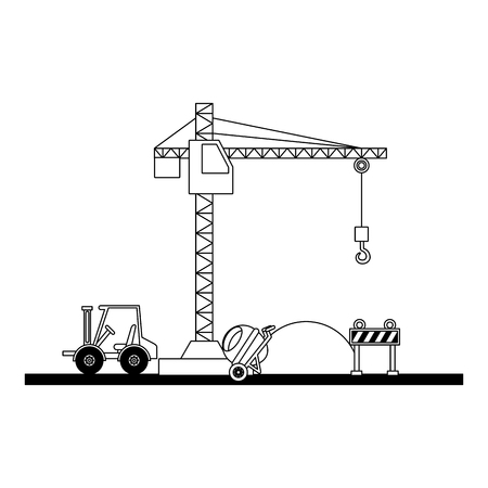 construction forklift bricks mixer barricade vector illustration