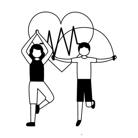 man and woman yoga jump rope exercise health vector illustration