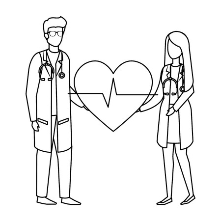 couple of professionals doctors with heart cardio vector illustration design Illustration