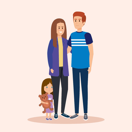 happy woman and man with daughter and teddy vector illustration