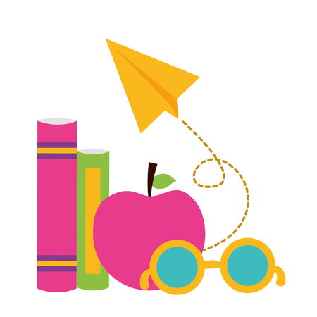 apple books paper plane school supplies vector illustration design Foto de archivo - 121131851