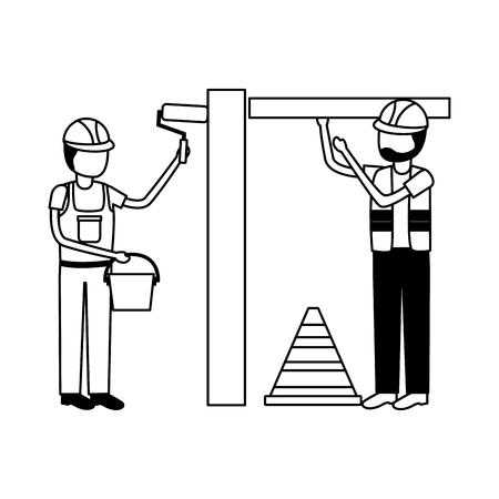 workers construction bricks painting roller equipment vector illustration